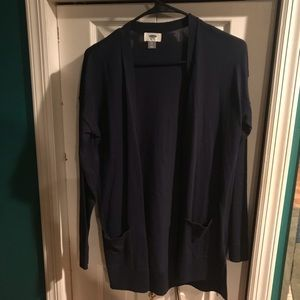 Navy blue long cardigan with pockets